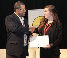 IMESA President, Mr Duncan Daries, present Bursary Recipient, Miss Marissa Myburgh, with a Certificate acknowledging her success as the Top Student for 2014.